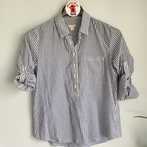 J.CREW Striped Cotton Popover Shirt Top